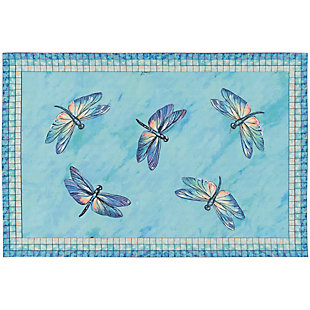 "Transocean Cirrus Wings Indoor/Outdoor Rug Lagoon 29""x49"", Blue, large"