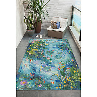"Transocean Cirrus Escape Indoor/Outdoor Rug Seafoam 4'10""x7'6"", Green, rollover"
