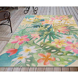 "Transocean Cirrus Tropical Bouquet Indoor/Outdoor Rug Pastel 4'10""x7'6"", Green, rollover"