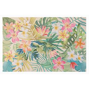"Transocean Cirrus Tropical Bouquet Indoor/Outdoor Rug Pastel 4'10""x7'6"", Green, large"