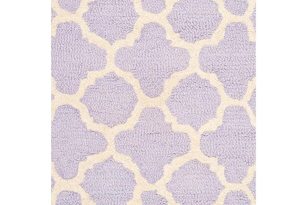 Cambridge 2' x 3' Wool Pile Rug, Lavender/Ivory, large