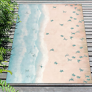 "Transocean Cirrus Turtles On The Run Indoor/Outdoor Rug Aqua 4'10""x7'6"", Blue, rollover"