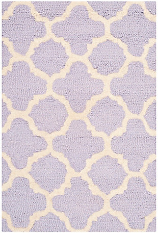 Cambridge 2' x 3' Wool Pile Rug, Lavender/Ivory, large