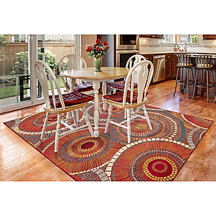"Transocean Gorham Disco Indoor/Outdoor Rug Saffron 4'10""x7'6"", Orange, rollover"