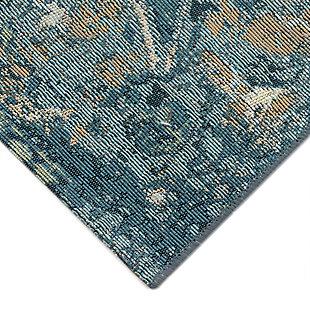 "Transocean Gorham Medallion Indoor/Outdoor Rug Blue 4'10""x7'6"", Blue, large"