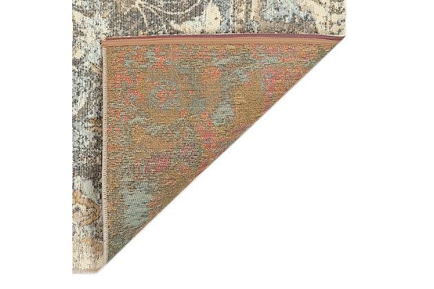 "Transocean Gorham Medallion Indoor/Outdoor Rug Gray 23""x7'6"", Gray, large"