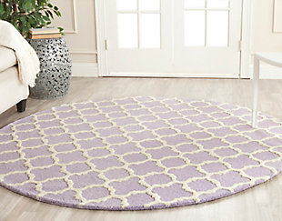 Cambridge 6' x 6' Round Wool Pile Rug, Lavender/Ivory, rollover