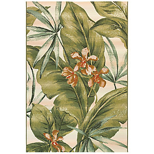 "Transocean Gorham Fronds Indoor/Outdoor Rug Cream 4'10""x7'6"", Ivory, large"