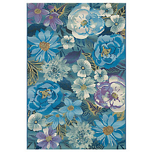 "Transocean Gorham Summer GaRounden Indoor/Outdoor Rug Cool 4'10""x7'6"", Blue, large"