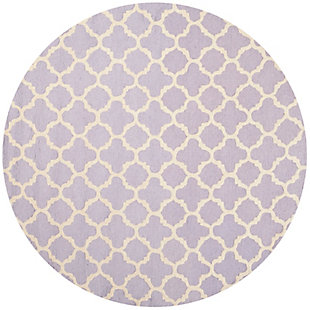 Cambridge 6' x 6' Round Wool Pile Rug, Lavender/Ivory, large