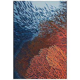 "Transocean Gorham Sea Dream Indoor/Outdoor Rug Ocean 7'10""x9'10"", Blue, rollover"