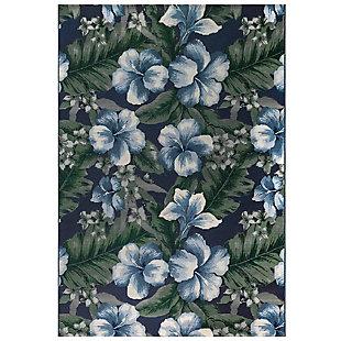 """Transocean Gorham Tropical Bouquet Indoor/Outdoor Rug Navy 4'10""""x7'6"""", Navy, large"""