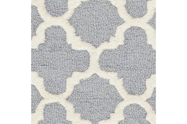 Cambridge 3' x 5' Wool Pile Rug, Silver/Ivory, large