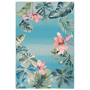 "Transocean Gorham Island Haven Indoor/Outdoor Rug Caribe 4'10""x7'6"", Blue, large"