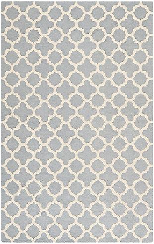 Cambridge 5' x 8' Wool Pile Rug, Silver/Ivory, large