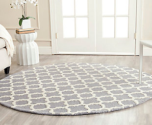 Cambridge 6' x 6' Round Wool Pile Rug, Silver/Ivory, rollover