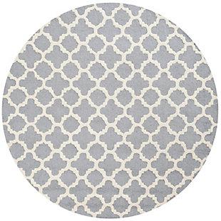 Cambridge 6' x 6' Round Wool Pile Rug, Silver/Ivory, large