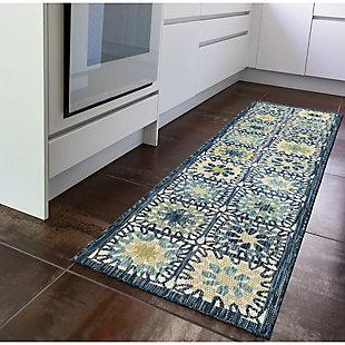 "Transocean Bellagio Crochet Squareuares Indoor/Outdoor Rug Aqua 4'10""x7'6"", Blue, rollover"