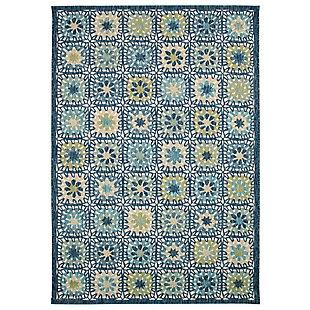 """Transocean Bellagio Crochet Squareuares Indoor/Outdoor Rug Aqua 4'10""""x7'6"""", Blue, large"""