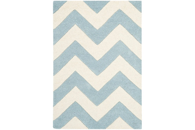 Rectangular 2' x 3' Wool Pile Rug, Blue/Ivory, large