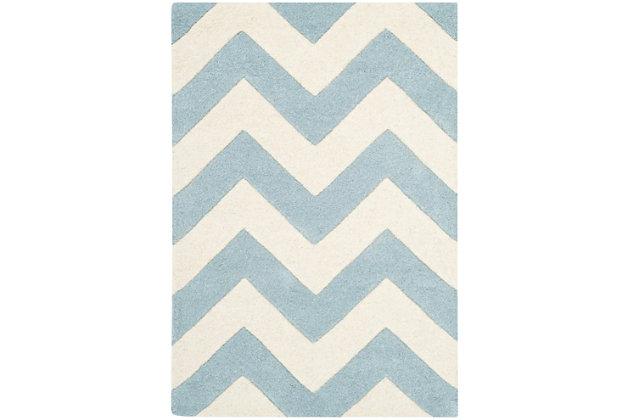 Rectangular 2' x 3' Wool Pile Rug, Blue/Ivory, large