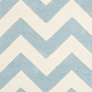 Rectangular 3' x 5' Wool Pile Rug, Blue/Ivory, large