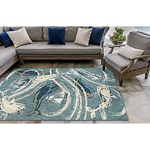 "Transocean Bellagio Sea Giant Indoor/Outdoor Rug Aqua 4'10""x7'6"", Blue, rollover"