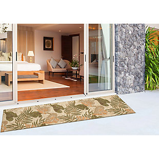 "Transocean Highlands Jungle Fronds Indoor/Outdoor Rug Neutral 5'x7'6"", Natural, rollover"