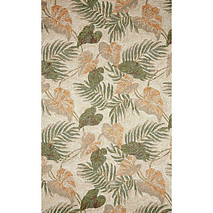 "Transocean Highlands Jungle Fronds Indoor/Outdoor Rug Neutral 5'x7'6"", Natural, large"