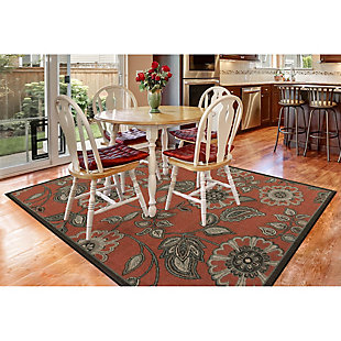 """Transocean Gilee Blossom Indoor/Outdoor Rug Red 4'10""""x7'6"""", Red, rollover"""