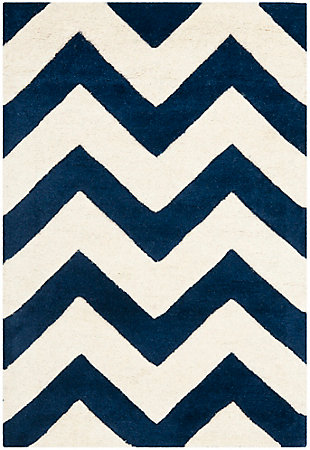Rectangular 2' x 3' Wool Pile Rug, Ivory/Navy, large