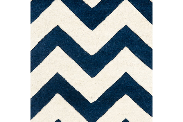 Rectangular 3' x 5' Wool Pile Rug, Ivory/Navy, large