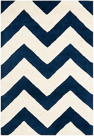 Rectangular 3' x 5' Wool Pile Rug, Ivory/Navy, rollover