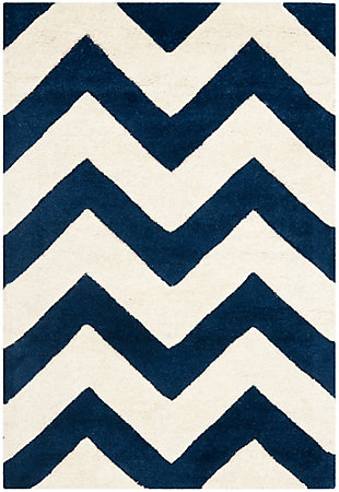 Rectangular 3' x 5' Wool Pile Rug, Ivory/Navy, large