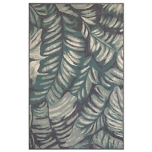 "Transocean Gilee Jungle Leaf Indoor/Outdoor Rug Teal 4'10""x7'6"", Blue, large"