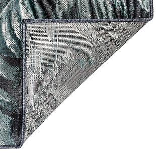 "Transocean Gilee Jungle Leaf Indoor/Outdoor Rug Teal 4'10""x7'6"", Blue, large"