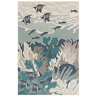 "Transocean Gilee Sea World Indoor/Outdoor Rug Teal 4'10""x7'6"", Blue, large"