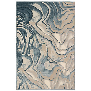 "Transocean Roco Marble Swirl Indoor Rug Blue 5'3""x7'6"", Blue, large"