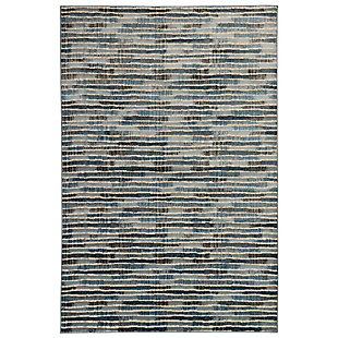 "Transocean Roco Broken Lines Indoor Rug Blue 5'3""x7'6"", Blue, large"