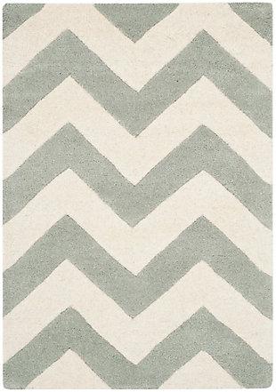 Rectangular 2' x 3' Wool Pile Rug, Gray/Ivory, large