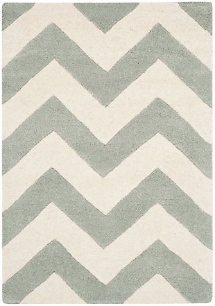 Rectangular 3' x 5' Wool Pile Rug, Gray/Ivory, large
