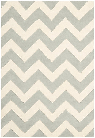 Rectangular 4' x 6' Wool Pile Rug, Gray/Ivory, large