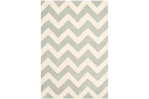 Rectangular 4' x 6' Wool Pile Rug, Gray/Ivory, large