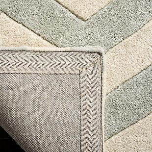Rectangular 5' x 8' Wool Pile Rug, Gray/Ivory, large
