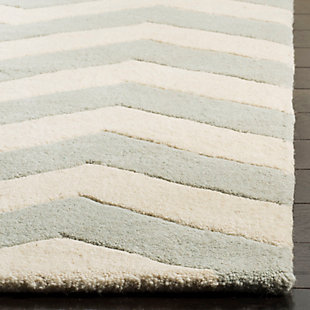Rectangular 5' x 8' Wool Pile Rug, Gray/Ivory, rollover