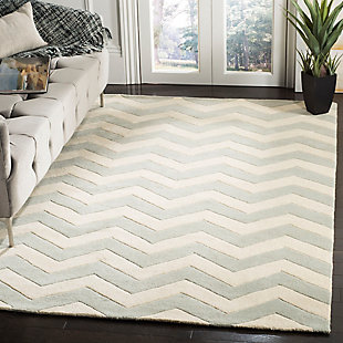 Rectangular 5' x 8' Wool Pile Rug, Gray/Ivory, large