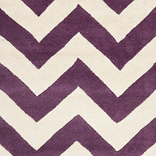 Rectangular 2' x 3' Wool Pile Rug, Purple, large
