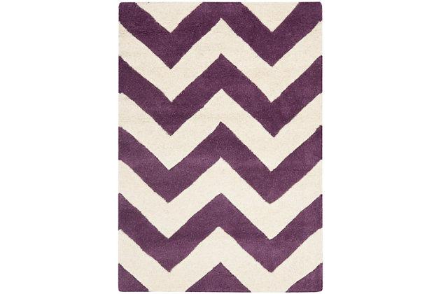 Rectangular 2' x 3' Wool Pile Rug, Purple, large