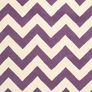 Rectangular 3' x 5' Wool Pile Rug, Purple, large