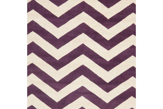 Round 5' x 5' Wool Pile Rug, Purple, large